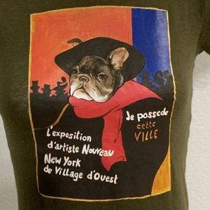 Rare Ruehl French Bulldog T-Shirt Size Small